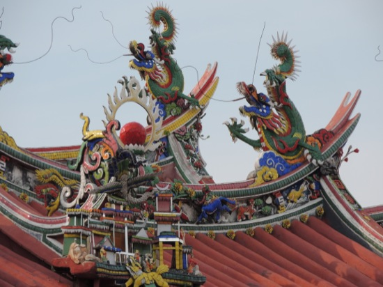 Intricate roof on a Chinese Temple in George Town, Penang