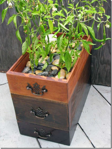 repurposed drawers self watering planter