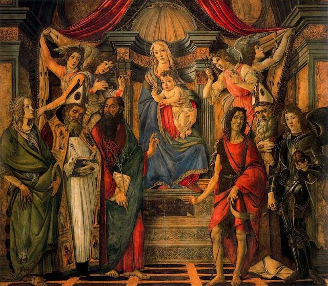 7R Boticelli - Retablo de Santa Bárbara. Virgen entronizada con Santos.jpg