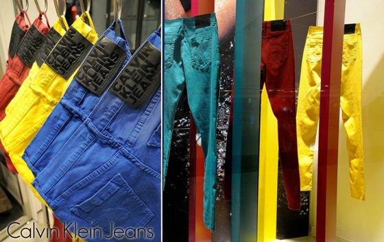 calças coloridas calvin klein jeans