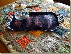 tray, carafe, quilt - all from yard sales
