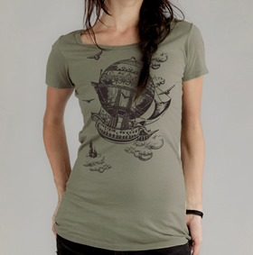 Vintage Steampunk Airship T-Shirt from banyantreeclothing
