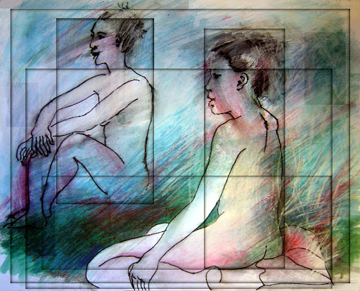 &#39;Two Women Who Are The Same,&#39; 2006. -one model, two fast pen &amp; ink renditions on same page. We contain many &#39;selves,&#39; moods, perceptions, perspectives.