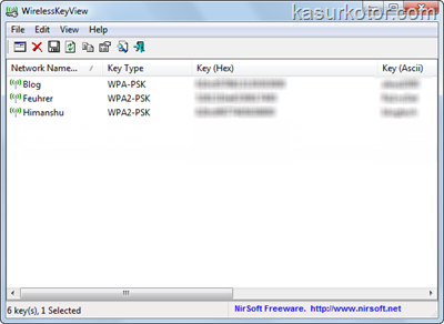 Melihat Passwords Wireless Network yang disimpan di Komputer - WirelessKeyView