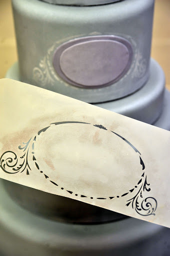 This stencil will go around the monogram as decorative trim.