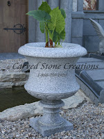 "Tall Flared Victorian Urn Planter D24 X H31 California White Granite Honed Finish.  1 1/2"" Drain Hole.  12"" Square Base. 10"" ID x 15"" Depth."