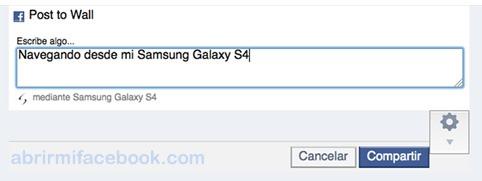 Truco para publicar en Facebook como si tuviera un Samsung Galaxy S4