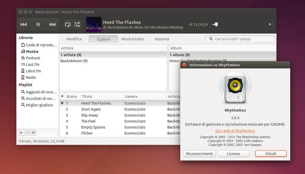 Rhythmbox 3.0.3 in Ubuntu 14.04 Trusty LTS