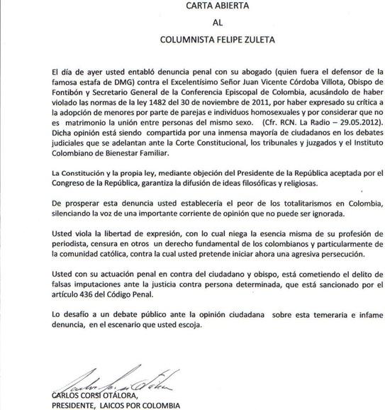 Carta abierta - Felipe Zuleta