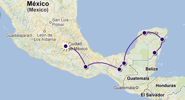 Ruta por el sur de México