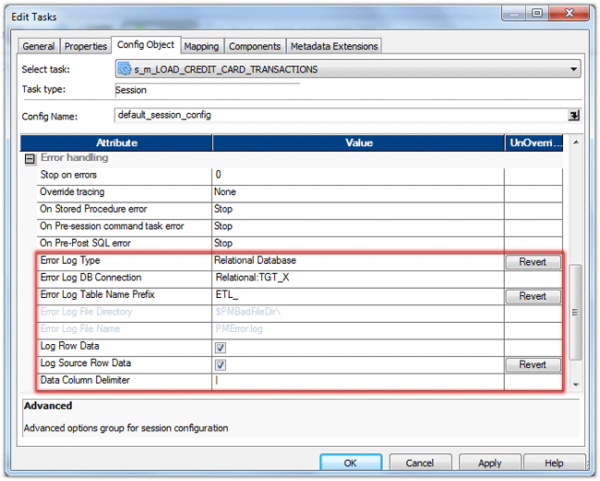 informatica row error logging
