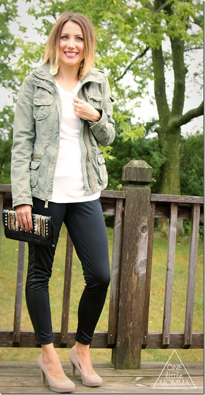 military jacket, black leggings, nude heels- #cbias #shop
