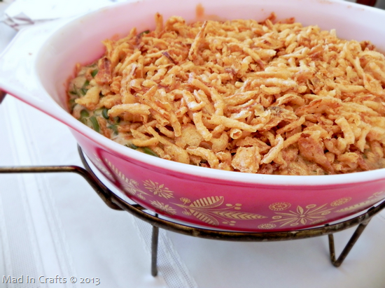 Green Bean Casserole in Vintage Pyrex