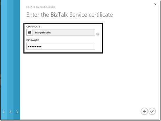 8 Certificate BizTalk Services