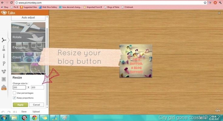 resize your blog button