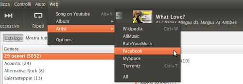 Rhythmbox Web Menu 2.2 su Ubuntu