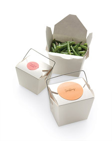 Make taking home leftovers for your guests playful by placing them in Chinese take-out boxes (containerstore.com).