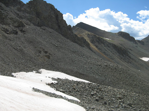Looking back at an annoying sidehill traverse across small talus and scree.