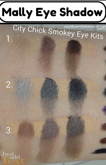 Mally City Chick Smokey Eye Kit; Eyeshadow palette & base. Review & Swatches of Shades Brownstone, Sky Scraper, Plum Chelsea