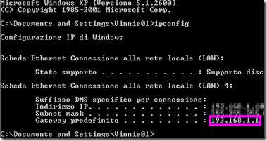 Prompt dei comandi Gateway predefinito indirizzo IP