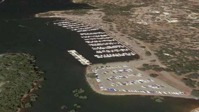 Aerial view of California's Folsom Lake, before the record drought dried it up. Photo: Google Earth