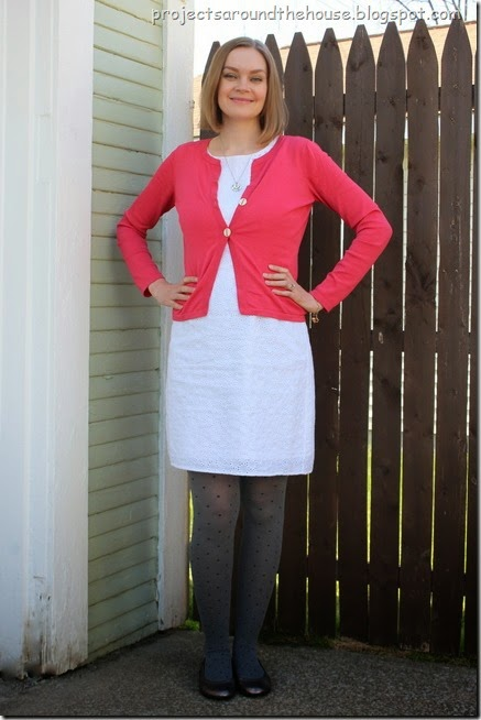 White dress, coral cardigan