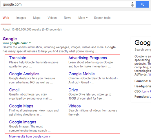 Google Organic Sitelinks in Search result