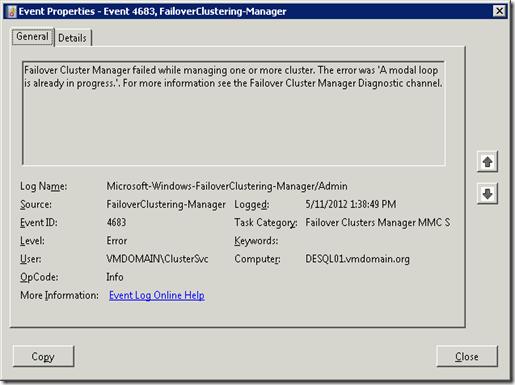 Event ID 4683 - A modal loop is already in progress