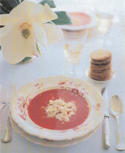 Chilled tomato soup with a lump of crabmeat, accompanied with unhulled sesame seeds. (Martha Stewart Living)