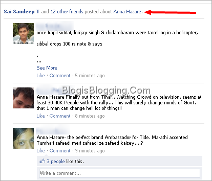Subject Wise Grouping of News Feeds in Facebook