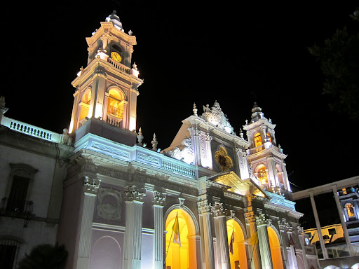 Salta's Cathedral at night.