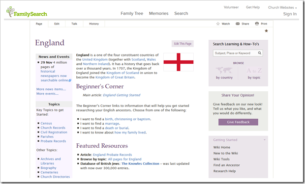 FamilySearch Wiki article about England
