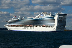 Caribbean Princess anchored at Newport