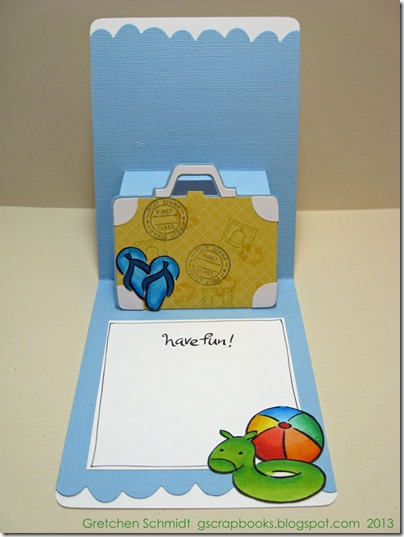 Happy Vacation Card With Suitcase Pop `n Cuts by @gscrapbooks