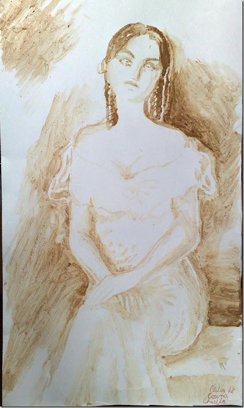 Portretul Otiliei din Enigma Otiliei pictat cu cafea