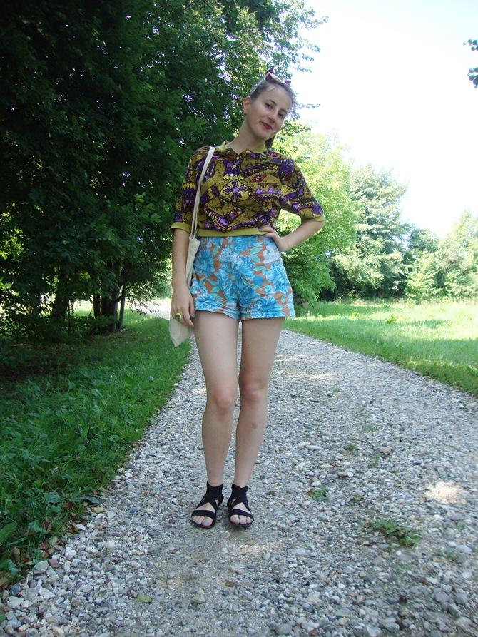 vintage top floral shorts