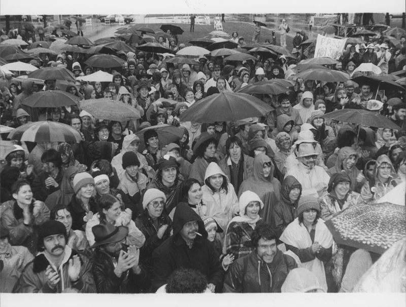 Demonstrators brave the rain at the March on Sacramento. January 13, 1980.