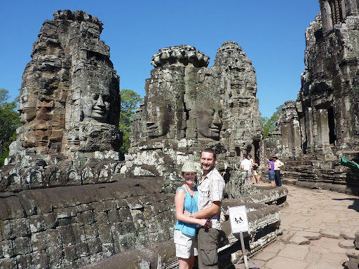 Lynette and I in front of the famous towers of the Bayon Temple.
