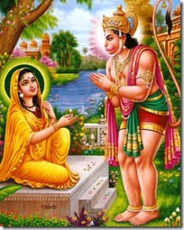 Hanuman meeting Sita