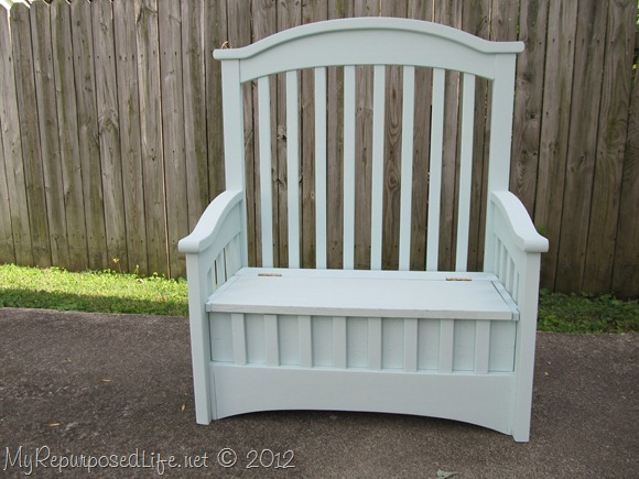 green toy box bench made from a crib