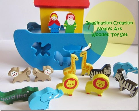 imagination creation noah's ark wooden toy set