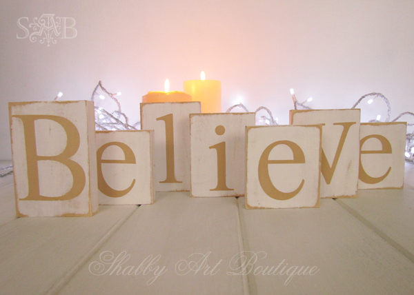 Shabby Art Boutique Believe letters