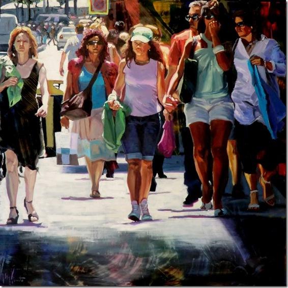 Grupo caminando,