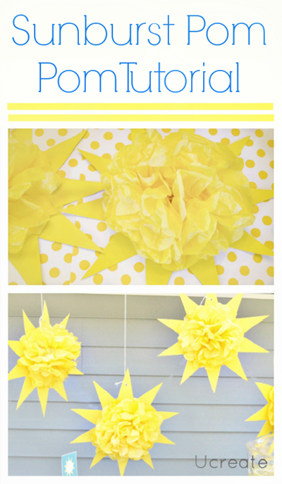 Sunburst Pom Pom Tutorial for Sunny Party!