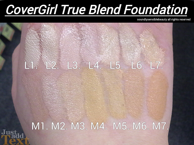 COVERGIRL TRUBLEND FOUNDATION NEW SHADES SWATCHES & REVIEW OF L1, L2, L3, L4, L5, L6, L7, M1, M2, M3, M4, M5, M6, M7