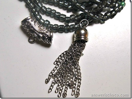 Gray Seed Beads, Bell Pendant, Bail