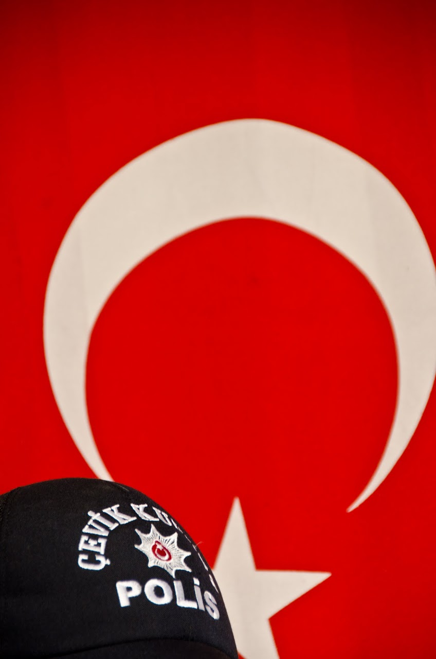 Turkish flag and police hat