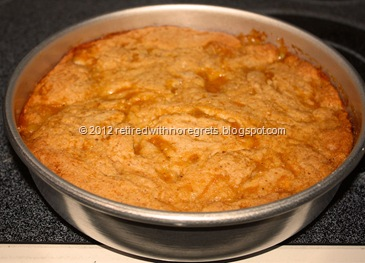 Peach Cobbler Cake - out of oven