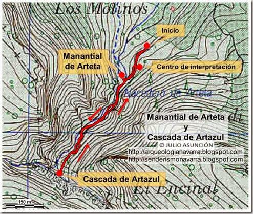 Mapa ruta manantial de Arteta y cascada de Artazul