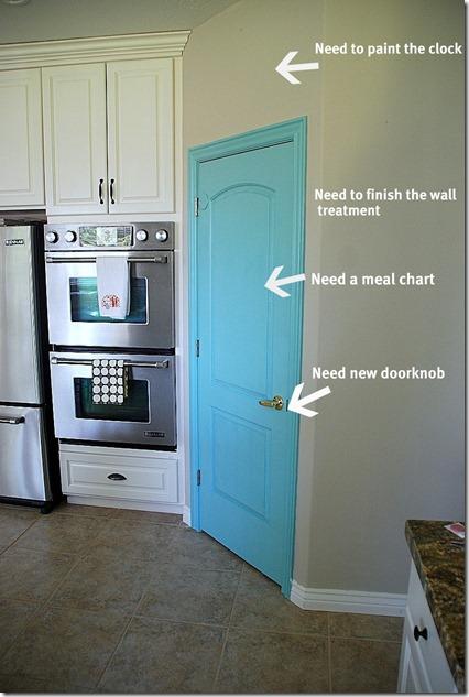 turquoise pantry door needs